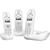 GIGASET - Téléphone répondeur sans fil trio AS405A Blanc