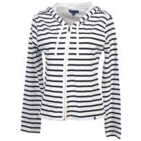 Elegance Oceane - Vestes sweats zippés capuche Aileron blanc veste zip c Blanc 36254