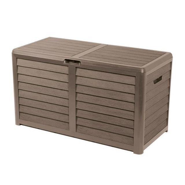 sans malle de jardin en plastique taupe 420l coffre rangement ext rieur 727 pas cher. Black Bedroom Furniture Sets. Home Design Ideas