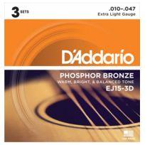 D'ADDARIO - 3 Jeux de cordes pour Guitare acoustique P-bronze Extra-Light 10-47 - Ej15-3D