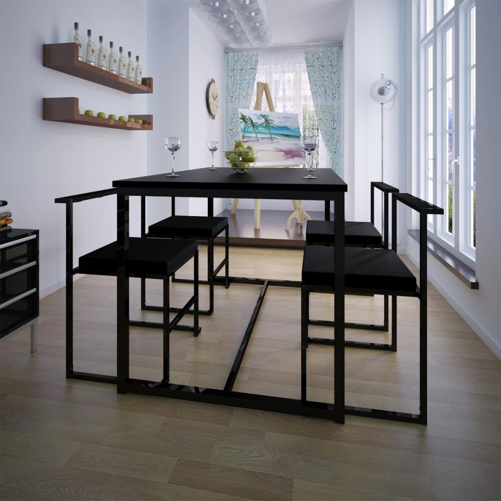 Vidaxl table de salle manger et 4 chaises noir mdf for Table de salle a manger et 4 chaises noir mdf
