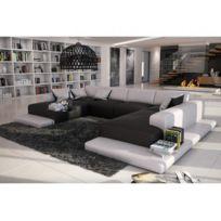 Canapé panoramique 7 places en simili SCOSY - Bicolore noir et blanc. MARQUE  GENERIQUE ... c7b8744e1d50