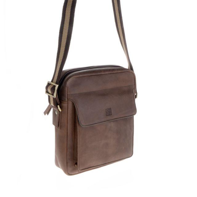 06748e50fc Dudu - Petit sac pour homme à bandoulière en cuir style vintage vieilli  Dudu Brun foncé