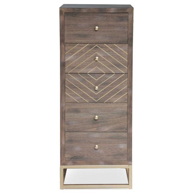 MENZZO Commode Lipnia scandinave 5 tiroirs Bois Vintage