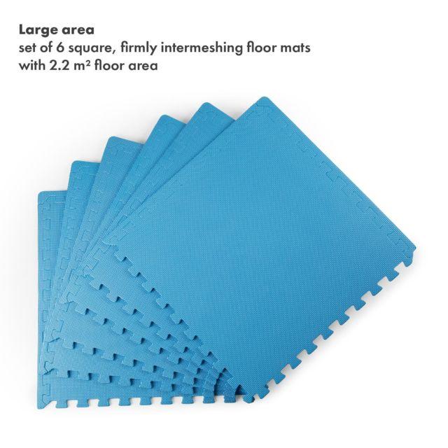 Gris Bleu 8 carr/és de Protection en Mousse Bois fonc/é sans Bordures Bois Clair Rouge Coloris : Noir /épaisseur 1,2cm