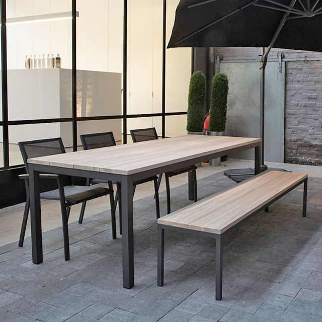 Gecko Jardin Table alu anthracite et teck 220 x 90 cm Scilly