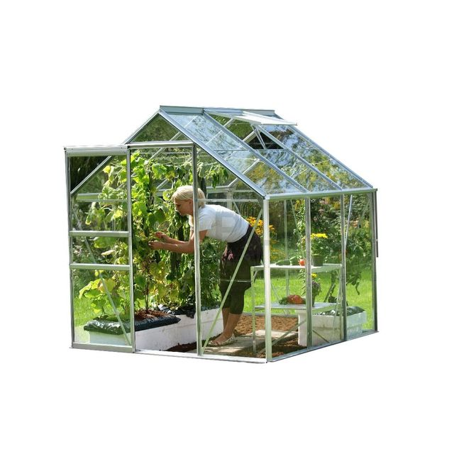 LAMS Serre de jardin en verre Vénus 3,80 m² - Gris