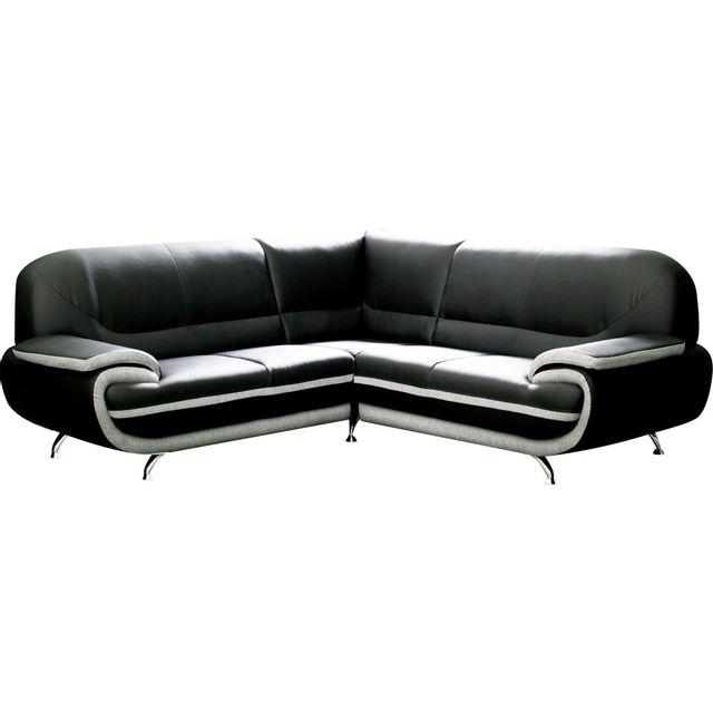 4eef0c28b9ae0 COMFORIUM - Canapé d angle en pvc noir et gris design Achat   Vente ...