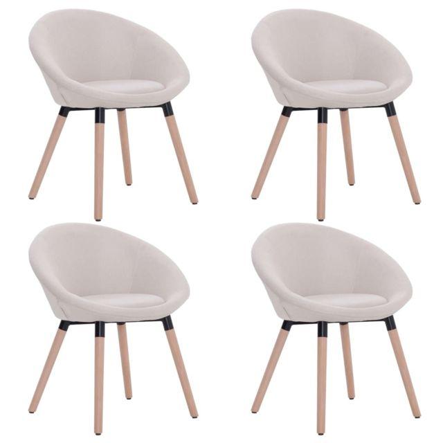 Icaverne Chaises de cuisine & de salle à manger gamme 4 pcs Chaises de salle à manger Crème Tissu
