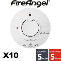 Fireangel - Lot de 10 détecteur de fumée Nf Autonomie et Garantie 5 ans St625-FRT