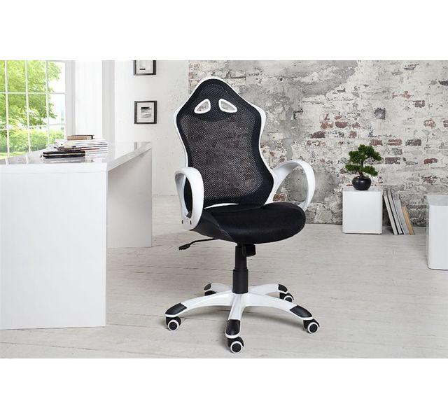 CHLOE DESIGN Fauteuil de bureau design LAURY - noir et blanc - A l'unité