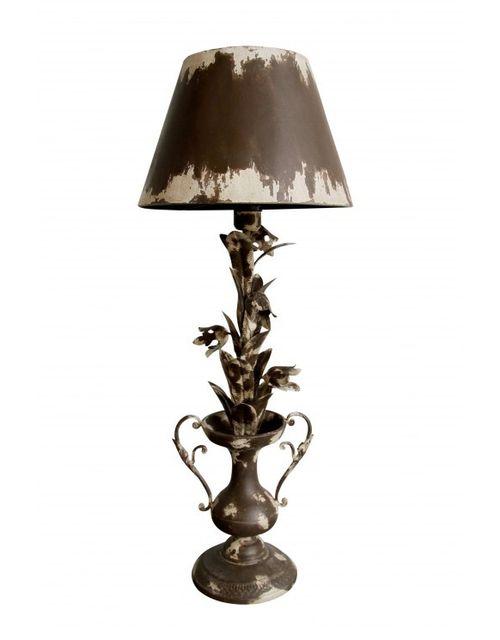 Decoshop Grande lampe à fleurs et abat-jour