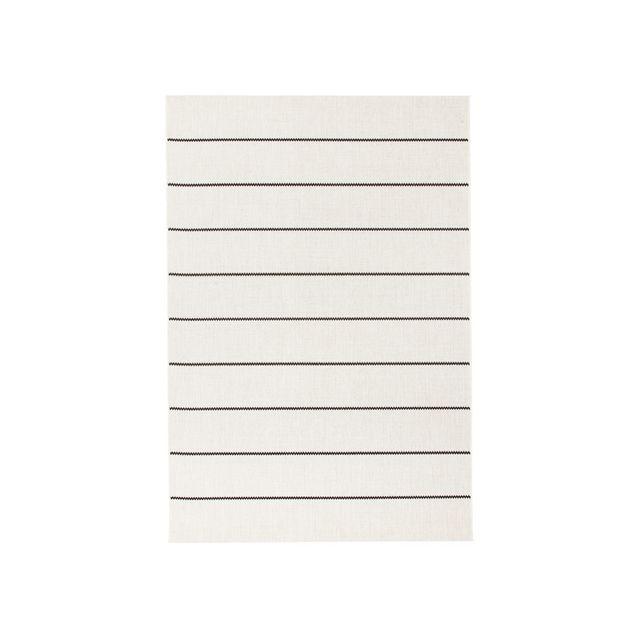 Tapis beige et noir à motif rayures 135x190cm Babel
