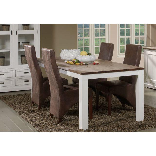 Kasalinea Table à manger contemporaine en bois massif blanc Emeline