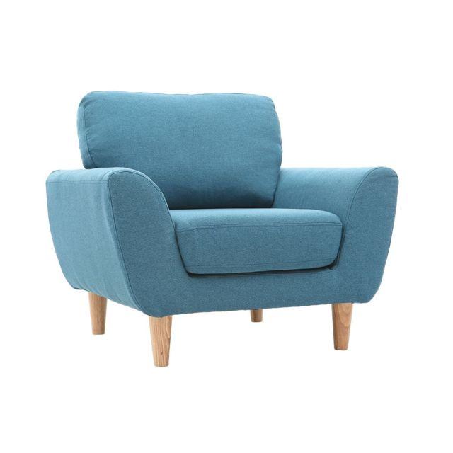 miliboo fauteuil scandinave tissu bleu canard alice - Fauteuil Bleu Canard Pas Cher