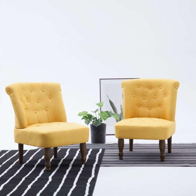 Splendide Fauteuils et chaises reference Katmandou Chaise française Jaune Tissu