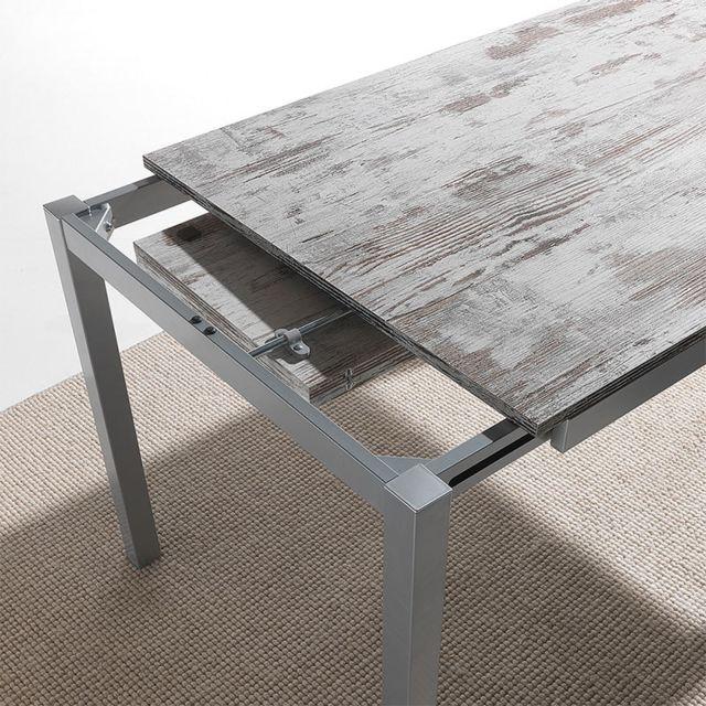 Nouvomeuble Table à manger moderne effet bois et blanc Jena