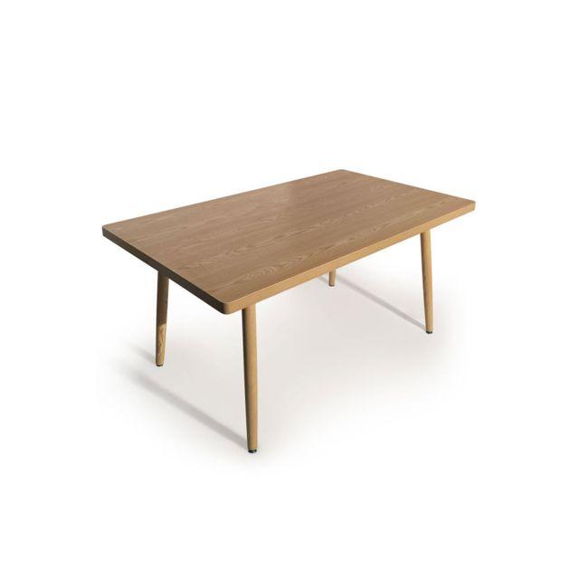COTE COSY - Table repas style scandinave couleur Bois Frêne GORDON 150cm x 75cm x 90cm - Non extensible