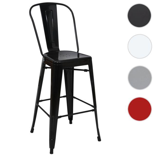 Mendler Tabouret de bar Hwc-a73, chaise de comptoir avec dossier, métal, design industriel ~ noir