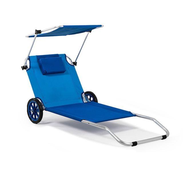 4kraft Maui Ride Transat Chaise De Plage Pliable Bleu Avec Parasol Roulettes Pas Cher Achat Vente Transats Chaises Longues Rueducommerce