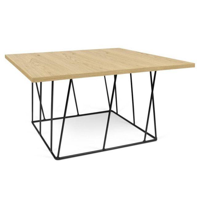 Inside 75 Table basse carrée Helix 75 chêne structure laquée noire