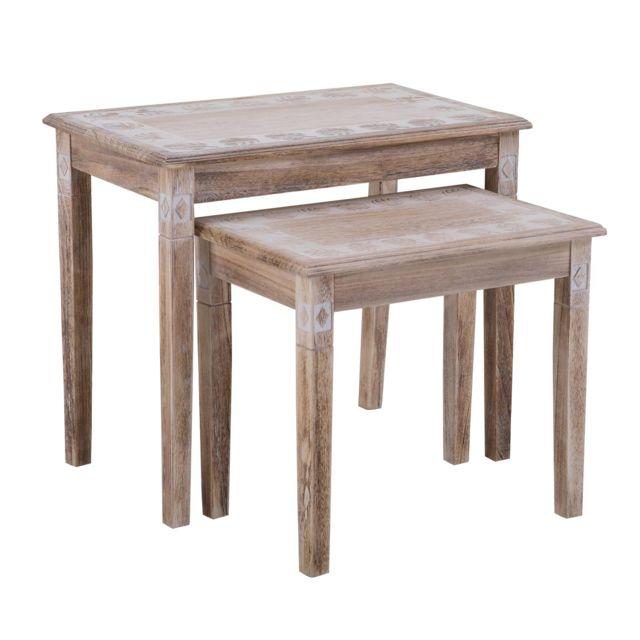 Set de 2 tables gigognes RILEY table basse ou table d\'appoint en bois de  paulownia style vintage ethnique bohême avec gravures