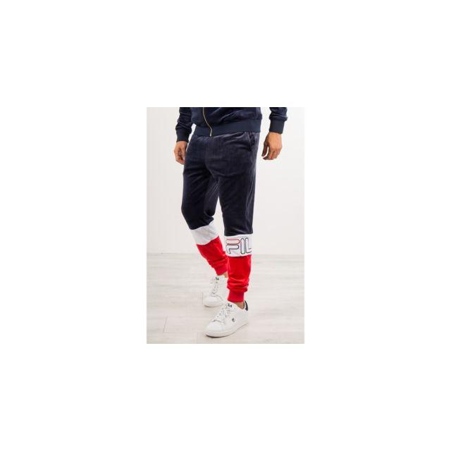 brillance des couleurs la moitié à vendre Fila - Jogging velours bleu Kaiden - pas cher Achat / Vente ...