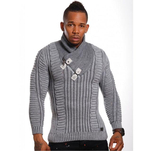 magasin en ligne 95eae 1723d Pull homme en laine gris