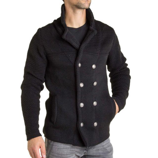 Enzo Di Capri Gilet laine homme tendance à fermeture type caban et maille épaisse
