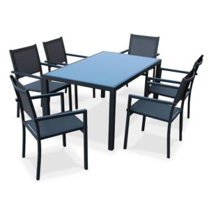 soldes alice 39 s garden capua anthracite gris salon de jardin aluminium table 150cm 6. Black Bedroom Furniture Sets. Home Design Ideas