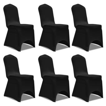 Rocambolesk - Superbe Housse noire extensible pour chaise 6 pièces Neuf