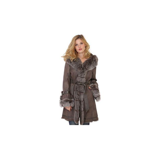 Manteau Newty de en fourrure femme taupe