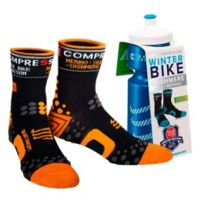 Compressport - Chaussettes ProRacing Socks Winter Bike noir orange