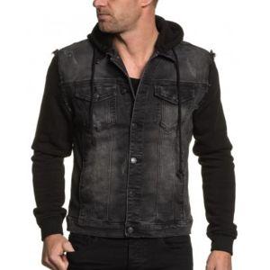 blz jeans veste en jean noir manche et capuche molleton pas cher achat vente blouson homme. Black Bedroom Furniture Sets. Home Design Ideas