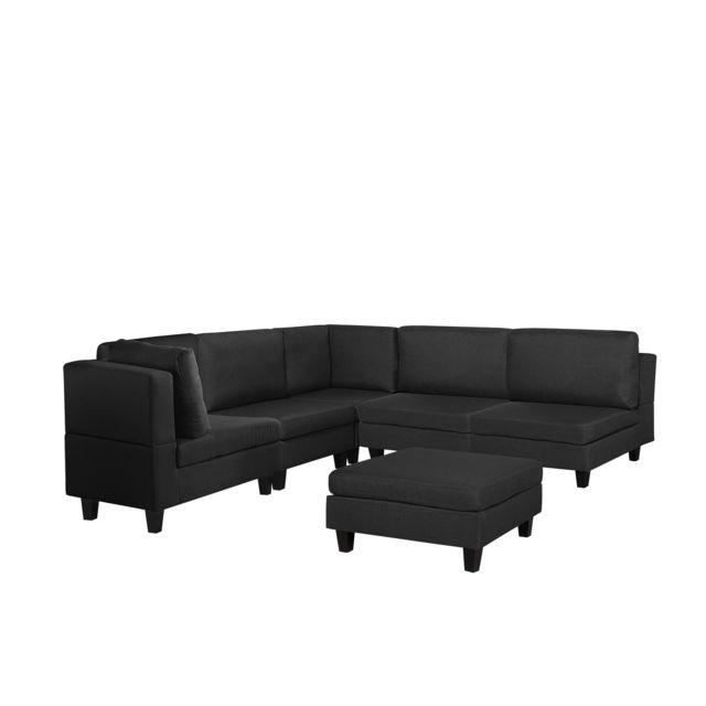 BELIANI Canapé angle modulable 5 places en tissu noir avec pouf ottoman FEVIK - noir