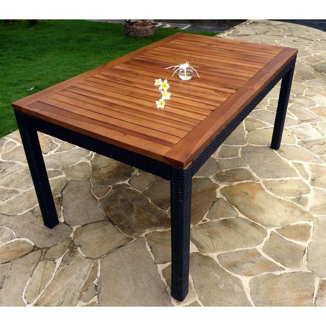 Table de jardin en teck huilé et résine tressée: rectangulaire