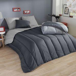 les douces nuits de ma couette microfibre bicolore 220x240 gris fonce gris clair pas cher. Black Bedroom Furniture Sets. Home Design Ideas