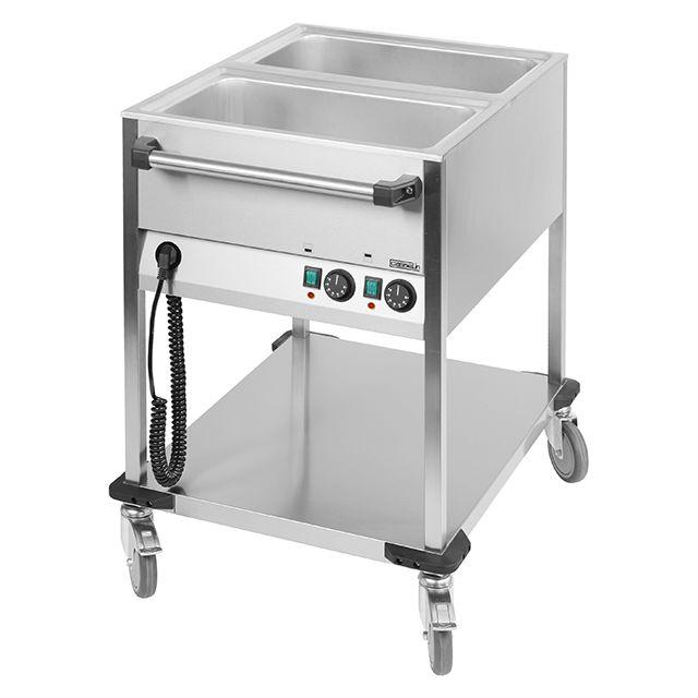 CASSELIN chariot bain-marie à eau inox 2 bacs gn 1/1 avec robinets de vidange - ccbm2v