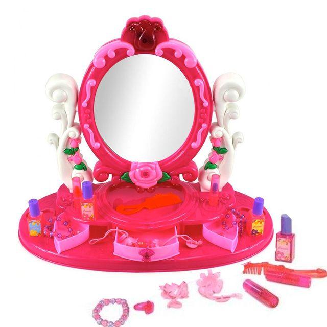 touslescadeaux coiffeuse enfant fille lumineux et sonore avec miroir et accessoires pas. Black Bedroom Furniture Sets. Home Design Ideas