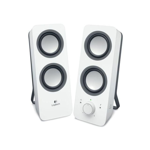 LOGITECH Enceintes Z200 SNOW WHITE Ces haut-parleurs 2.0 offrent un son stéréo riche et clair à la puissance de crête de 10 watts, pour une acoustique incroyablement ample.