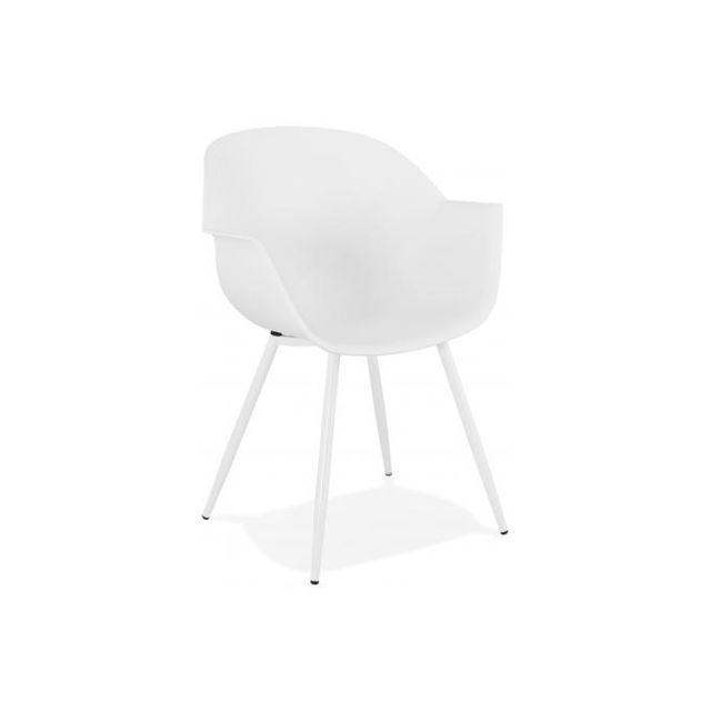 Declikdeco Fauteuil Design Blanc Accoudoirs Arrondi Piétement Blanc Poppery