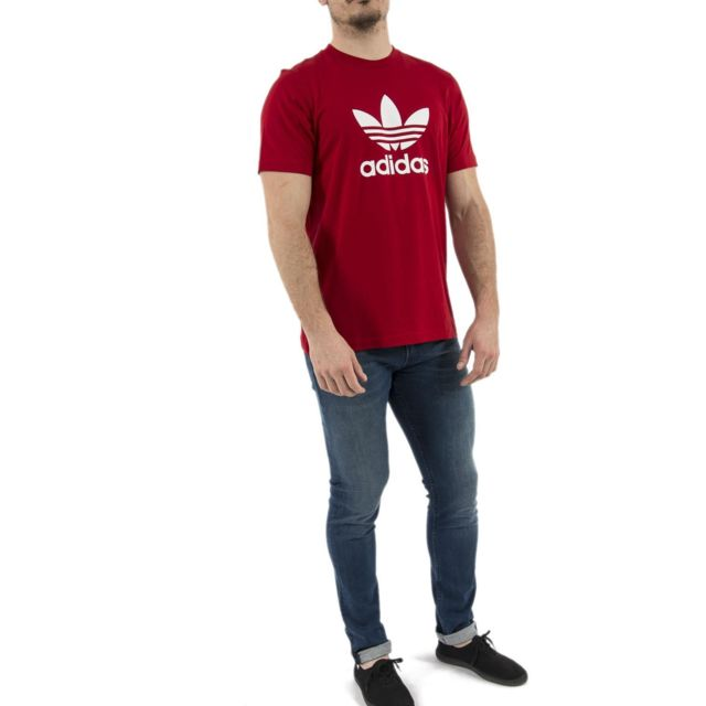 Adidas clfn T Shirt pour Homme, Noir, M Rouge X Small