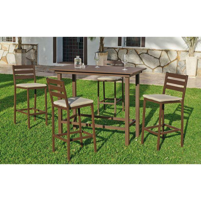 HEVEA JARDIN Ensemble table et chaises de jardin galicia 130 bronze + coussins