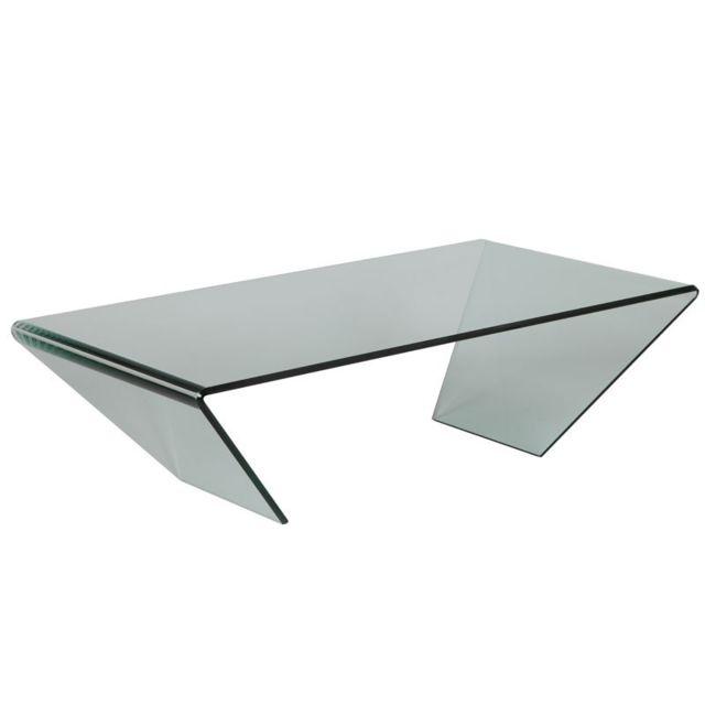 Dansmamaison Table basse rectangulaire Verre - Grib - L 120 x l 65 x H 36 cm