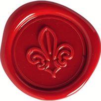 Herbin - Set Sceau Motif Fleur De Lys + Cire Traditionnelle Rouge