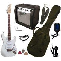 Vision - Pack Guitare Electrique, Ampli15W, Accordeur électronique 7 Accessoires, Blanc