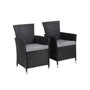 soldes habitat et jardin fauteuil jardin en r sine tress e st tropez atlanta noir lot. Black Bedroom Furniture Sets. Home Design Ideas