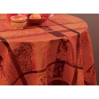 c620d5c2f03fb7 Le Linge De Jules - Nappe anti-taches Jacquard rouge - taille   Ronde  diamètre