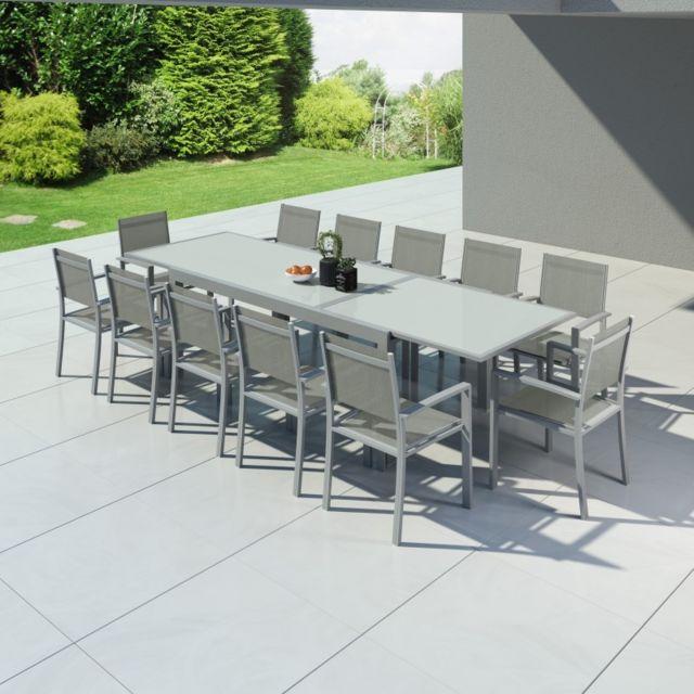 Hara Xxl - Table de jardin extensible aluminium 200/320cm + 12 fauteuils  textilène Argentée