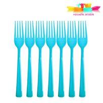 Vaisselle-jetable - 50 fourchettes jetables plastique bleu